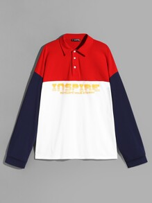 Men Color-block Letter Polo Shirt
