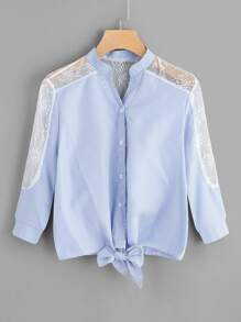 Contrast Lace Knot-front Striped Shirt