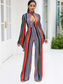 Striped Split Sleeve Cut Out Front Jumpsuit