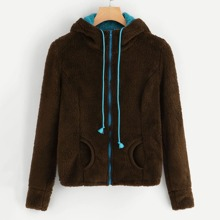 Drawstring Zip-up Hooded Teddy Outerwear