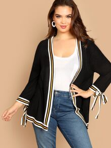 Plus Knot Cuff Open Placket Striped Coat