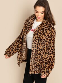 3c53fdf9f5 Plus Leopard Print Teddy Jacket | SHEIN UK