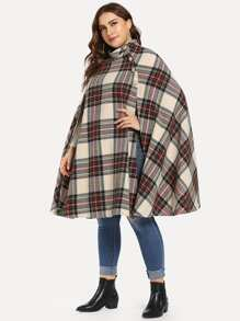 Plus Cape Sleeve Button Detail Plaid Coat