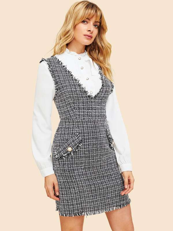 usa cheap sale special for shoe new selection 80s Double V Neckline Frayed Edge Tweed Pinafore Dress