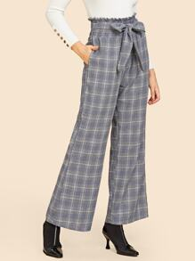 Frilled Trim Tied Waist Plaid Pants
