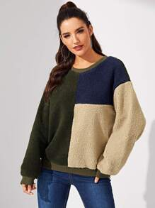 Color Block Teddy Pullover