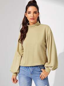 Mock-Neck Solid Pullover