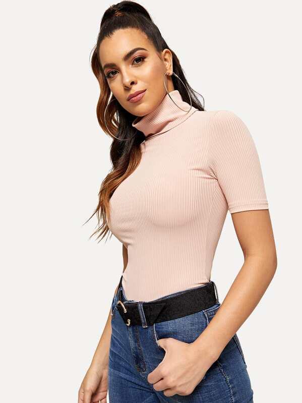 6db3bd446e10 High Neck Rib Knit Fitted T-shirt   SHEIN
