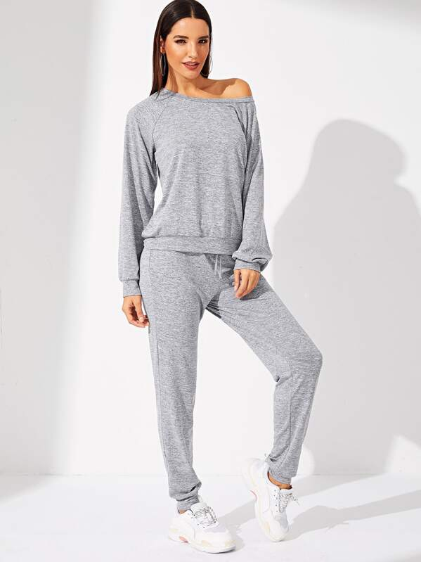 Solid Tunic Top & Elastic Waist Pants Set by Shein