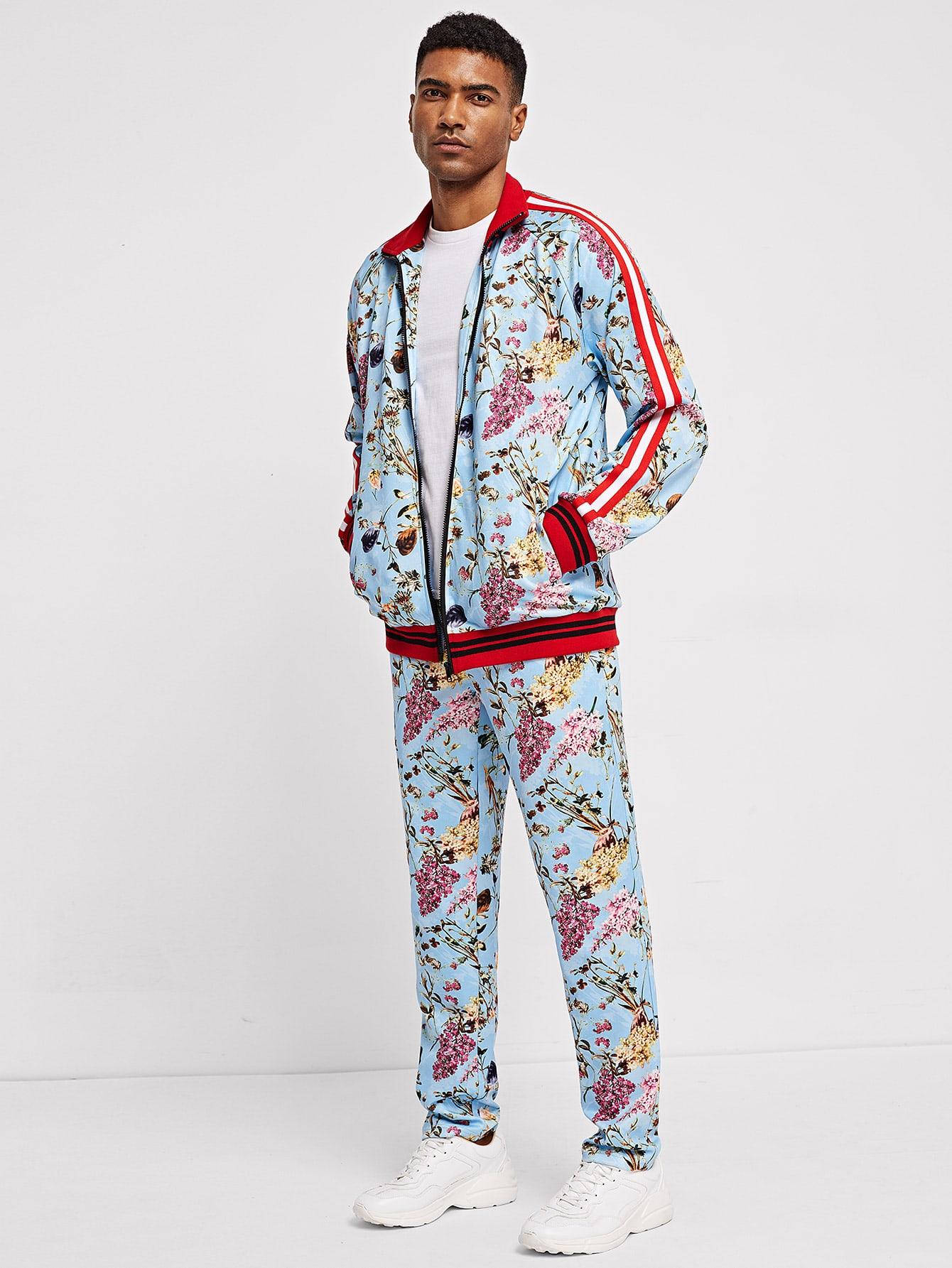 Men Zip Up Mock-Neck Flower Print Jacket & Pants Co-Ord Men Zip Up Mock-Neck Flower Print Jacket & Pants Co-Ord