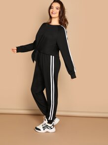 Plus Contrast Sideseam Knot Hem Pullover and Pants Set