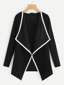 Contrast Binding Drape Collar Coat
