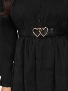 Double Heart Shaped Metal Buckle Belt