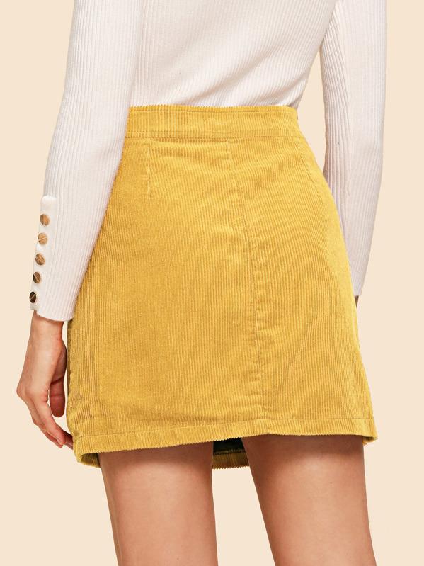7eae37776442 Button Through Corduroy Skirt | SHEIN IN