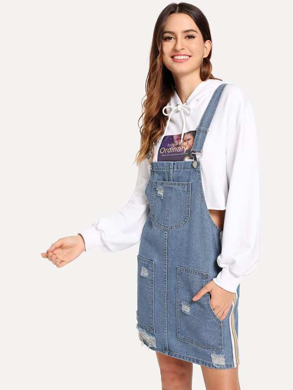 1c67886c1 Tape Detail Destroyed Denim Pinafore