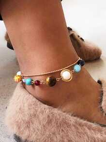 Color Block Ball Layered Anklet