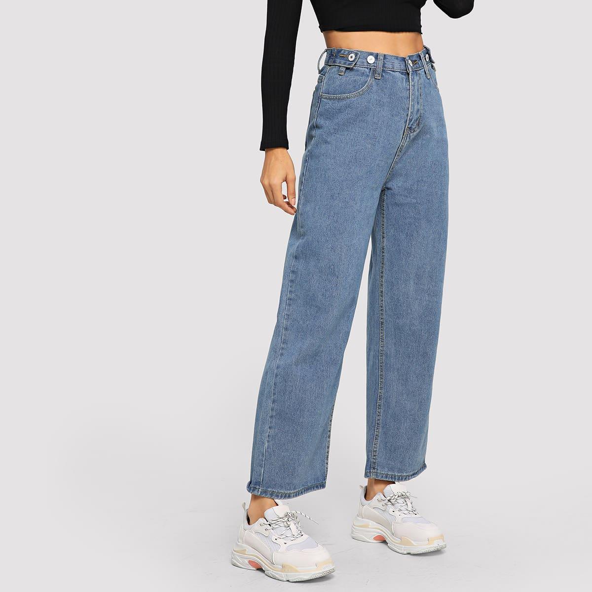 Широкие джинсы с пуговицами