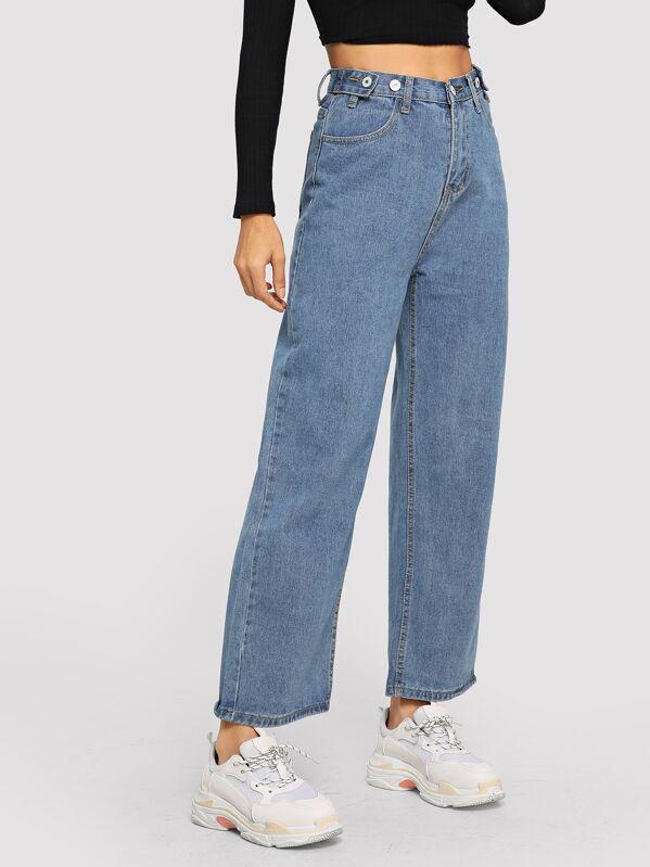 566c1f5e30 Button Wide-leg Jeans | SHEIN