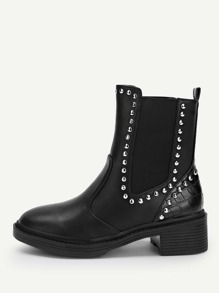 Solid Studded Decor Boots