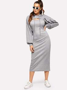 Strap Longline Dress With Drop Shoulder Hoodie