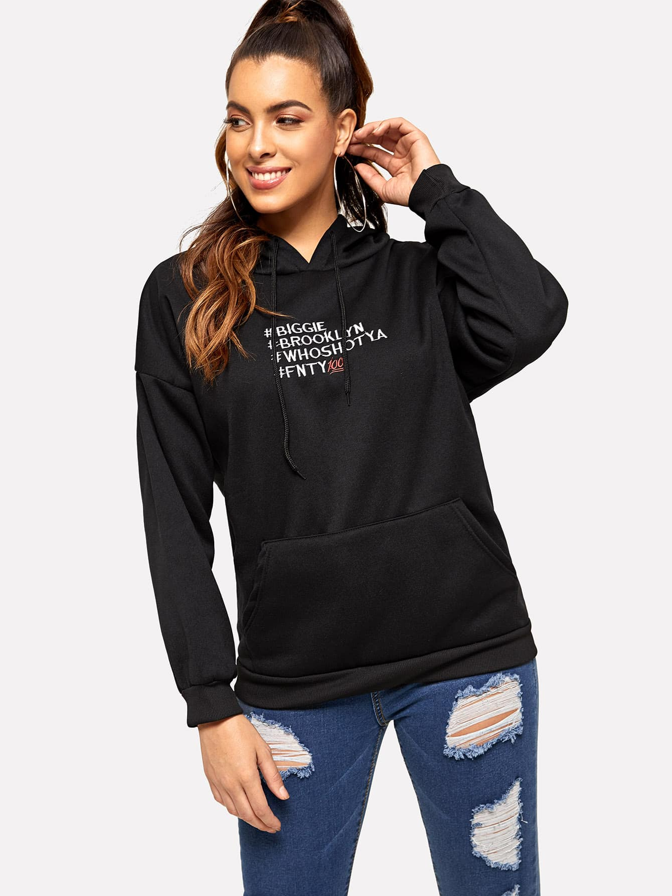 Letter Embroidered Kangaroo Pocket Drop Shoulder Hoodie Letter Embroidered Kangaroo Pocket Drop Shoulder Hoodie