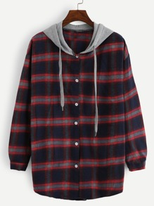 Plus Contrast Panel Plaid Hooded Blouse