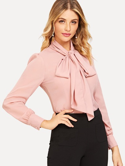 Tie Neck Curved Hem Blouse pictures