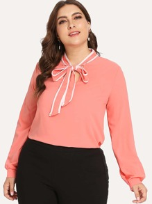 Plus Self Tie Neck Blouse