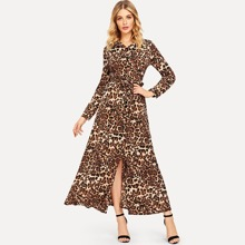 Leopard Print Slit Hem Shirt Dress