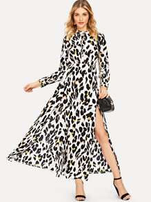 Leopard Print High Split Dress