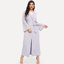 Notch Collar Self Belted Abaya
