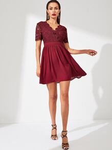 Guipure Lace Surplice Top Flare Dress