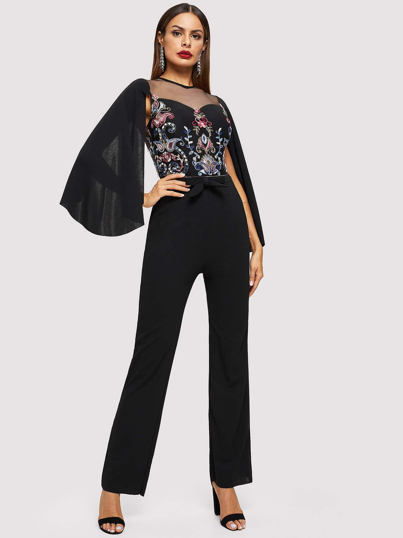 f813e17fa103 Cape Sleeve Mesh Insert Embroidered Tailored Jumpsuit EmmaCloth ...