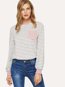 Pocket Patched Striped Pullover