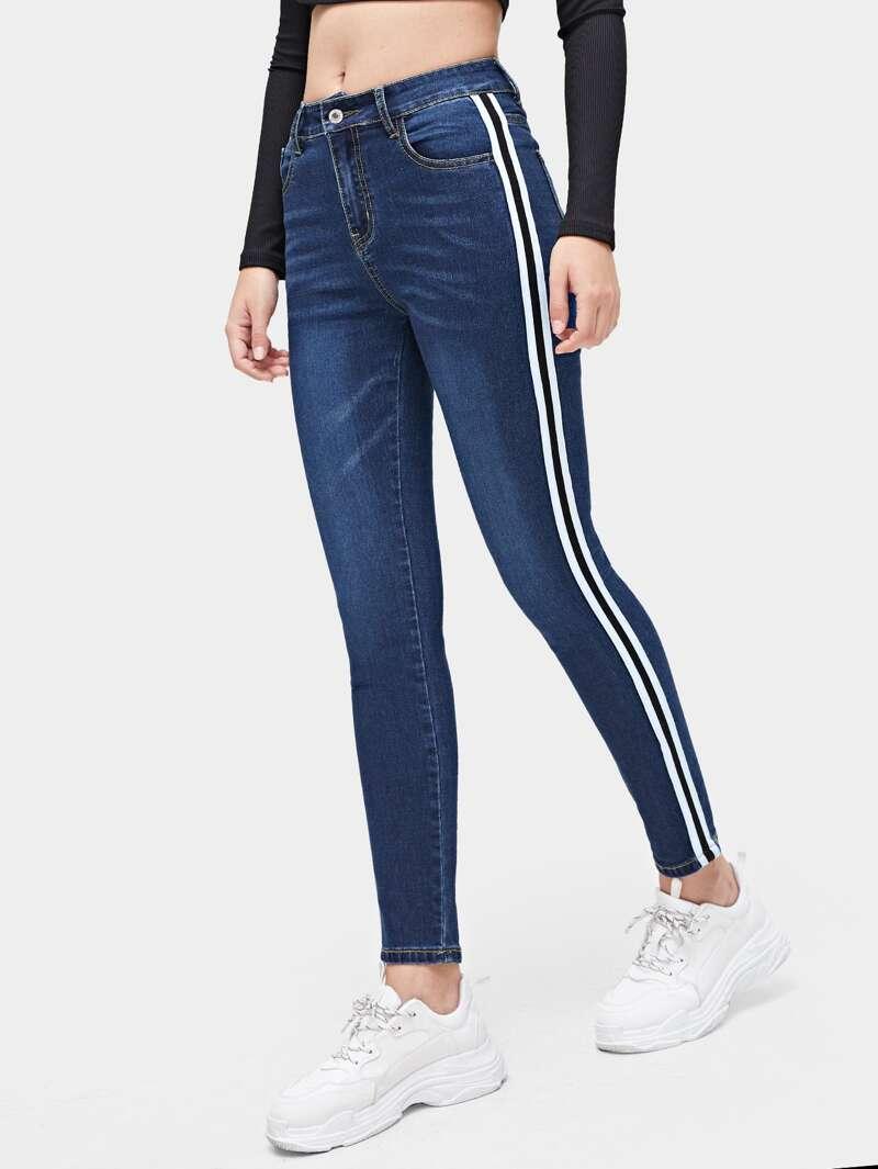 Jeans Jeans con ajustados banda ajustados banda con lateral hBxrCQtsd