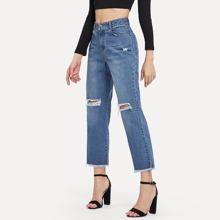 Ripped Detail Raw Hem Jeans