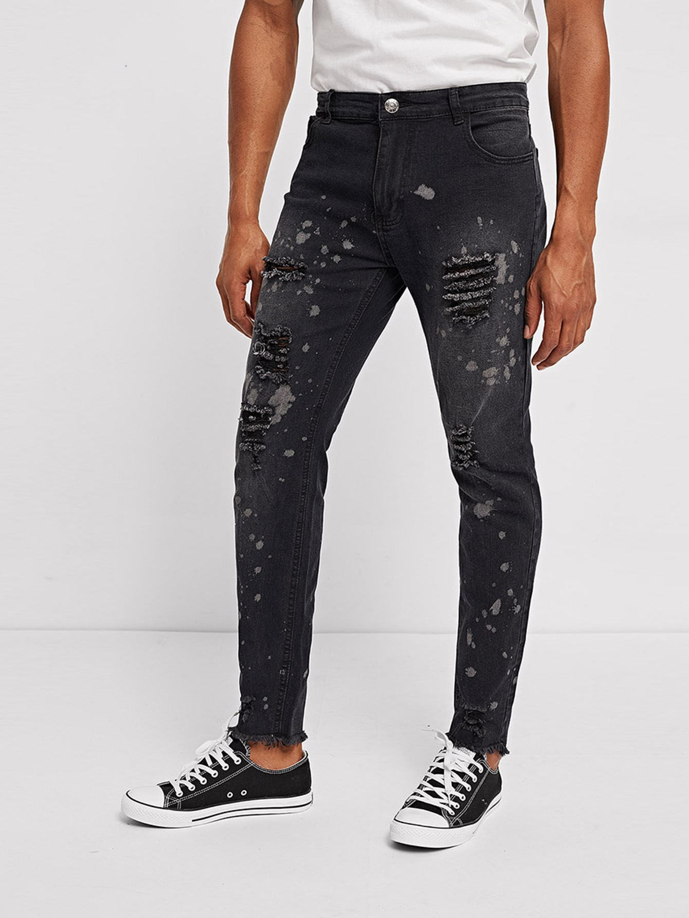 Men Ripped Detail Jeans Men Ripped Detail Jeans