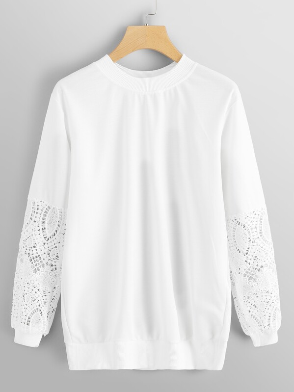2609571f2bf6 Mock Neck Floral Lace Sleeve Pullover | SHEIN