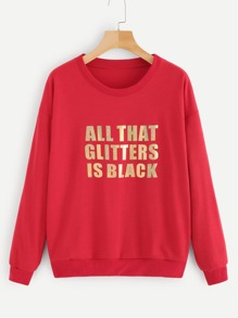 Glitter Letter Print Drop Shoulder Sweatshirt