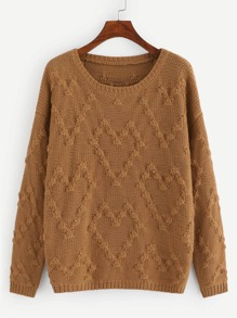 Drop Shoulder Geo Knit Sweater