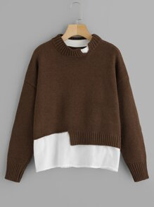 Plus Contrast Hem Drop Shoulder Sweater