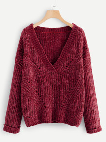 Plus Cuffed Sleeve Eyelet Chenille Sweater