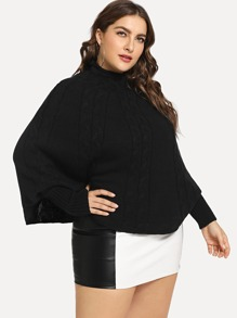 Plus Mock-neck Cable Knit Batwing Jumper