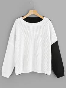 Plus Drop Shoulder Two-tone Sweater