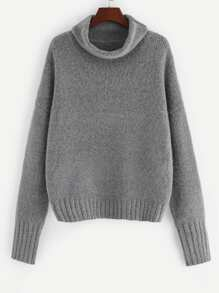 Rolled Neck Drop Shoulder Fuzzy Jumper