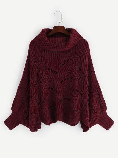 Plus Batwing Sleeve Eyelet Sweater