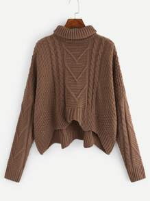 Plus Mixed Knit Dip Hem Jumper