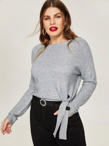 Plus Drop Shoulder Knot Hem Jumper