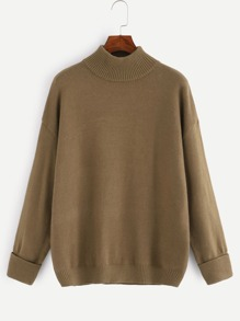 Drop Shoulder Ribbed Knit Trim Jumper