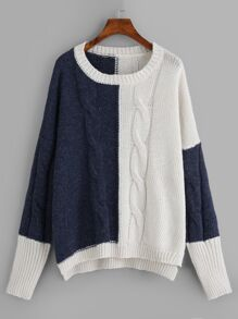 Plus Two-tone Cable Knit Jumper